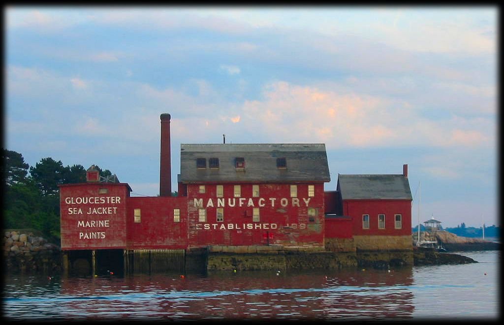 Red Manufactory building in Gloucester harbour, Massachusetts.